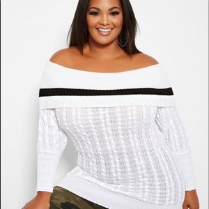 LANE BRYANT OFF THE SHOULDER CABLE KNIT SWEATER